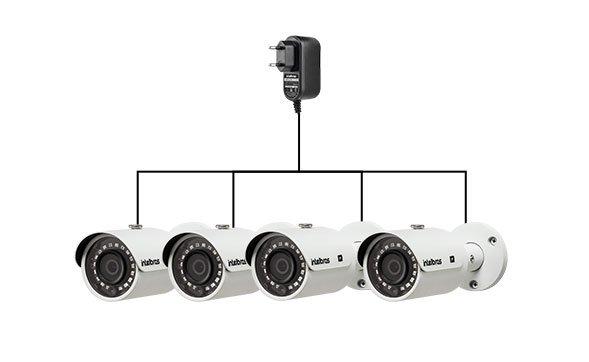 Fornece energia para até 4 câmeras HD