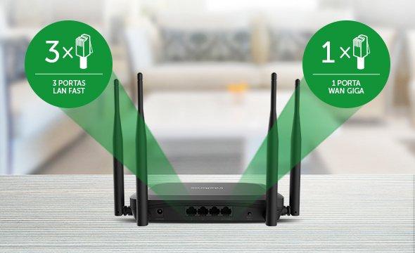 Roteador Wireless AC 1200 com Porta WAN Giga e LAN Fast