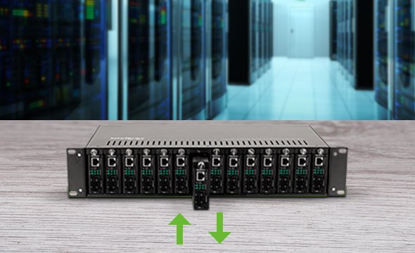 Tecnologia Hot Swap com o Conversor de Mídia Intelbras KGS 1120 Gigabit Ethernet monomodo 20km 1 Gbps
