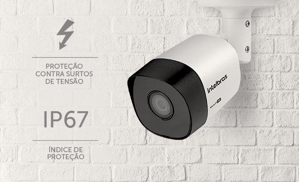 intelbras- câmera na parede com índice de proteção ip67
