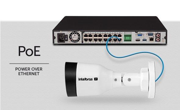 Câmera com tecnologia PoE, que permite transmitir dados e energia pelo mesmo cabo de rede, reduzindo a quantidade de cabos. Instalação mais fácil.